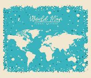 White world map floral pattern with light blue background. Vector illustration Royalty Free Stock Photo