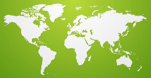 White World Map Illustration on green background. Vector template Royalty Free Stock Photo