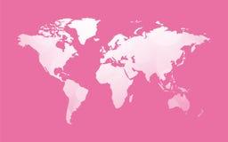 White world map on pink Royalty Free Stock Image