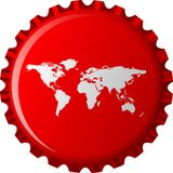 White world map on red bottle cap Royalty Free Stock Photo