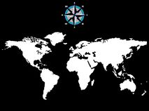 White world map with wind rose isolated on black Stock Images