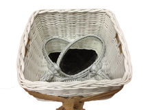 White woven basket and oval mirrors. White woven basket and two oval mirrors background Stock Photos