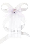 White woven gift tag with grey ribbon bow Stock Photography