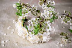 White wreath with cherry blossom. White wreath  cherry blossom. Flower crown Stock Photography