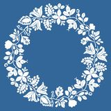 White wreath floral vector frame isolated on navy blue background. White laurel wreath floral vector frame isolated on navy blue background stock illustration