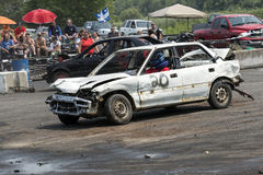 Demolition derby. Napierville demolition derby, July 12, 2015, picture of white wrecked car during the demolition derby stock photography