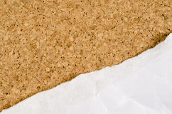 White wrinkle paper on cork background Stock Photo