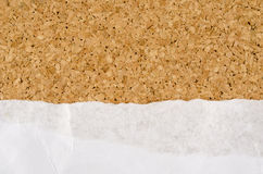 White wrinkle paper on cork background Stock Photography