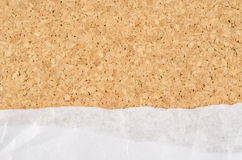 White wrinkle paper on cork background Stock Photos