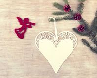 Angel and heart as Christmas decoration stock photos