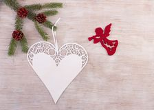 Angel and heart as Christmas decoration royalty free stock images