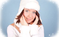 White xmas girl posing Stock Images