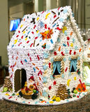 White Xmas homemade Gingerbread house Stock Photo