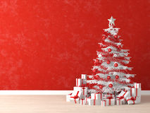 White xmas tree on red wall. White and red christmas tree decorated with many presents on a vibrant red wall for background, copy space at left stock illustration