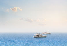 White Yacht. The Several Yacht on the sea Royalty Free Stock Photography