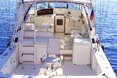 White yacht afloat. Big yacht fully in white color afloat Stock Photo
