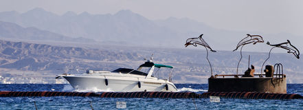 White yacht in Aqaba gulf, Eilat, Israel Stock Images
