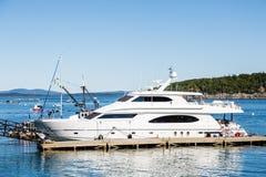 White Yacht at Bar Harbor Dock Stock Image