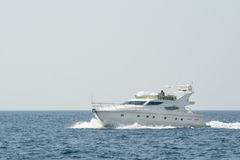 White yacht in the blue ocean Royalty Free Stock Image
