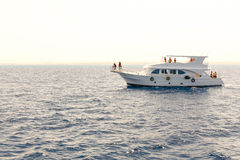 White yacht in the blue tropical sea Royalty Free Stock Images