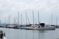 The White Yacht are leaving port Royalty Free Stock Photo