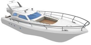 White yacht. White motor yacht isolated on white Royalty Free Stock Images