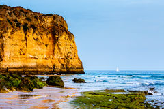 White Yacht at Porto de Mos Beach in Lagos, Algarve Stock Images