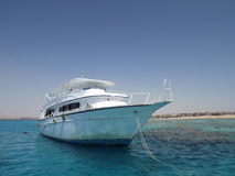 White yacht in the Red sea. Yacht Red sea corals vacation luxury yacht Egypt blue sky vocation day off active life summer time Royalty Free Stock Images