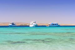 The white Yacht in the Red Sea. Egypt. Royalty Free Stock Image