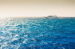 White yacht in the Red sea at sunset Stock Images