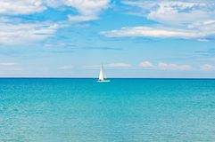 White yacht sailing blue sea ocean water Royalty Free Stock Photo