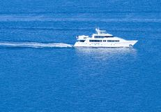 White Yacht ~ Sailing On Clear Blue Sea. ~ White Wake Stock Photography
