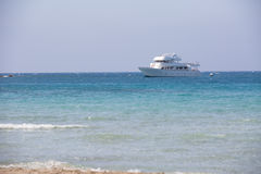 White yacht in the sea Stock Image