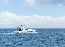 White yacht in sea stock photography