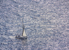 White yacht and the sea Stock Images