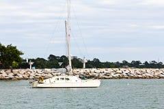 White yacht on sea Stock Image