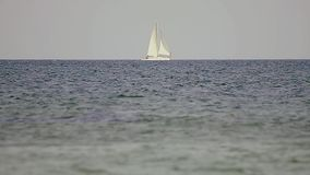 White yacht in sea. Natural light stock video footage