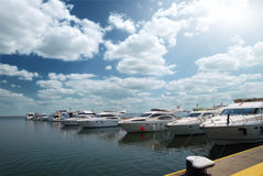 White yachts on an anchor Stock Image