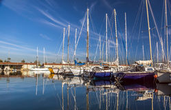 White yachts on an anchor Royalty Free Stock Images