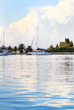 White yachts on an anchor in harbor Royalty Free Stock Photography