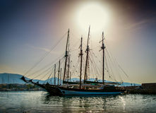 White yachts in the bay of Athens Royalty Free Stock Images