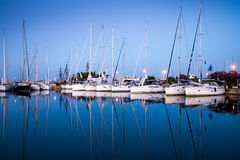 White yachts in the bay Stock Photo