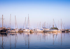 White yachts in the bay of Athens Royalty Free Stock Photography