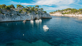 White Yachts boats in bay. Calanques in the azure coast of Franc Royalty Free Stock Image