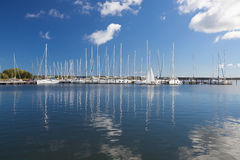 White yachts in the harbor on the Ruegen Island Royalty Free Stock Images