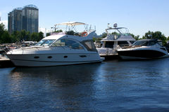 White yachts on harbor. Royalty Free Stock Images