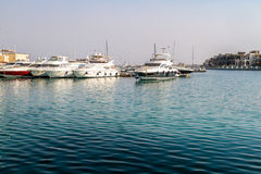 White yachts in Limassol marina, Cyprus Royalty Free Stock Images