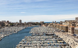 White yachts in the Old Vieux Port in the city center of Marseil Stock Photography