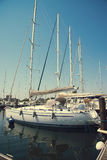 White yachts in the port waiting. Misano Adriatico, Emilia Romagna, Italy.  stock images