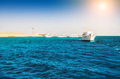 White yachts in the Red sea Royalty Free Stock Image
